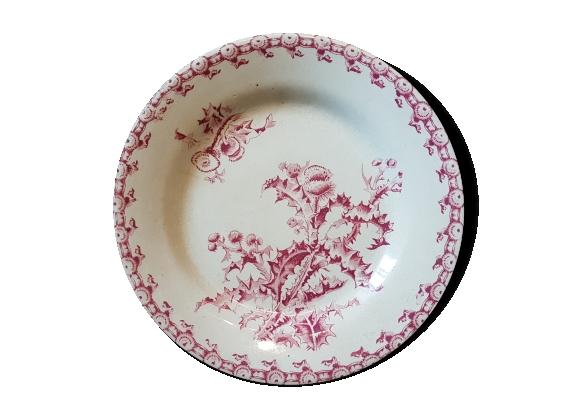 Assiette en faïence ancienne à décor de fleurs
