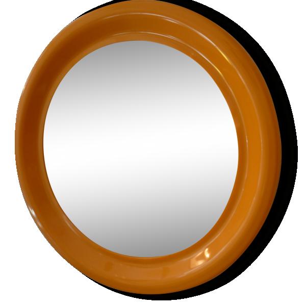 Miroir seventies en plastique orange vintage plastique for Miroir en plastique