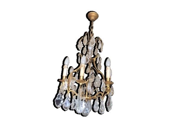Lustre bronze et pampilles cristal 6 branches