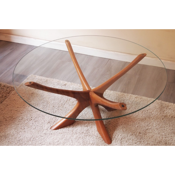 Table basse scandinave ronde teck et verre bois for Table basse scandinave ronde copenhague 80