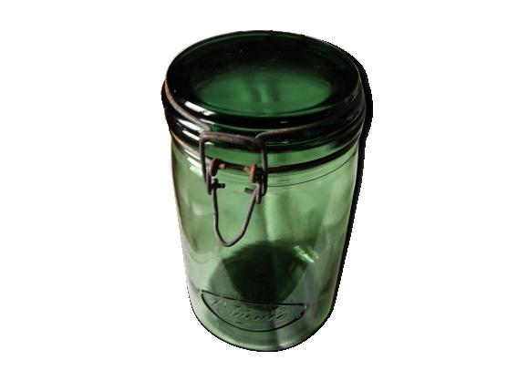 Bocal L'Idéale en verre vert 1L 1/2 couvercle fermeture métal