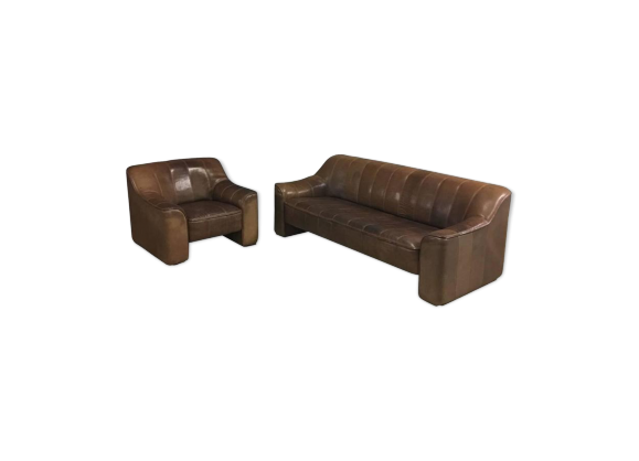 canap trois places et fauteuil de de sede ds44 cuir. Black Bedroom Furniture Sets. Home Design Ideas