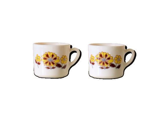 Deux tasses Sovirel France, pyrex décor de fleurs vintage 70's