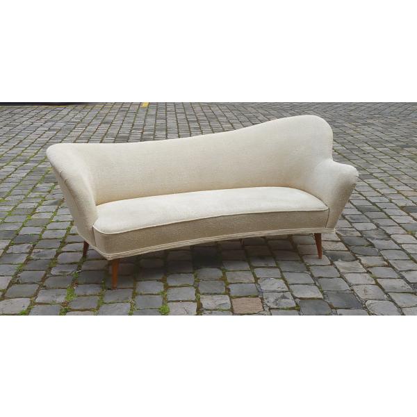 Canap meridienne sculptural arc asym trique suedois ann es 50 60 tissu b - Canape suedois vintage ...