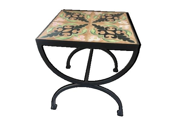 Table basse carrée en fer forgé et céramique, années 50