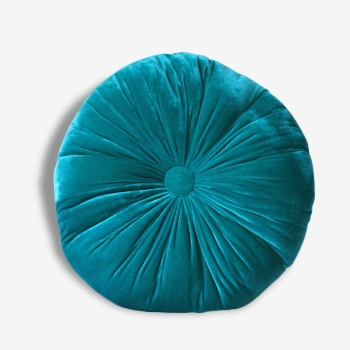 Coussin rond turquoise et lin