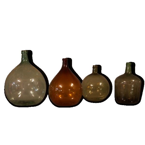 lot de 4 dame jeanne vintage 1950 verre et cristal dans son jus vintage 148425. Black Bedroom Furniture Sets. Home Design Ideas