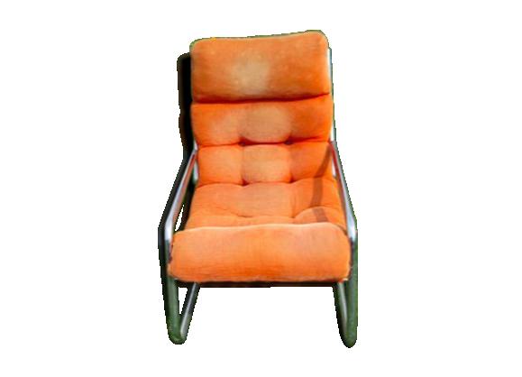 fauteuil ann e 70 allemand chrome et tissus fer orange. Black Bedroom Furniture Sets. Home Design Ideas