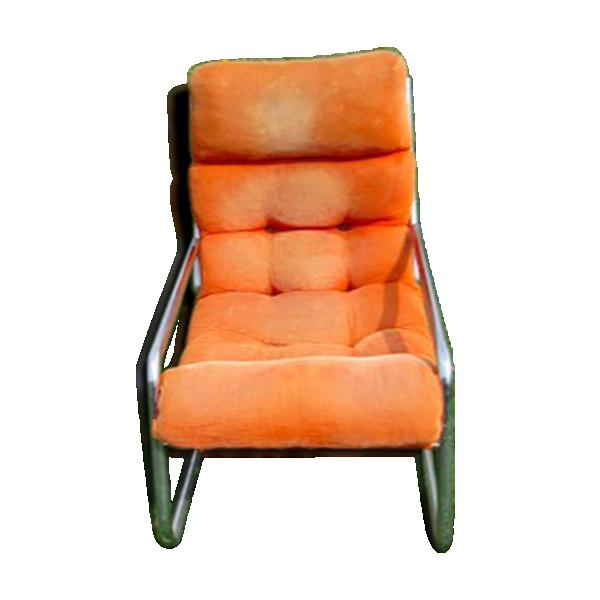 fauteuil ann e 70 allemand chrome et tissus fer orange bon tat vintage. Black Bedroom Furniture Sets. Home Design Ideas