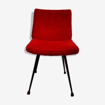 Chaise cocktail moumoute rouge années 60