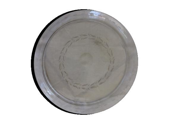 Plateau en verre transparent et ancien
