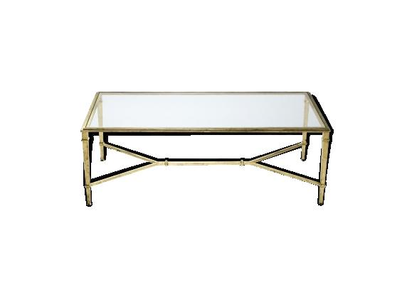 Table basse fer forgé dorée signée Robert Thibier années 60