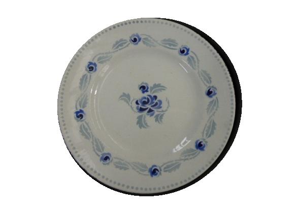Lot de 5 petites assiettes et une grande fleurs bleues modèle mistral hamage, moulin des Loups, Nord, France, art déco