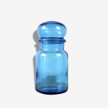 Flacon ariel en verre bleu avec bouchon rond