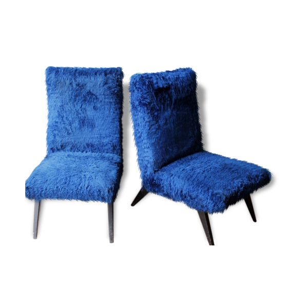 ensemble de 2 fauteuils chauffeuse en fourrure vintage ann e 60 bois mat riau bleu bon. Black Bedroom Furniture Sets. Home Design Ideas