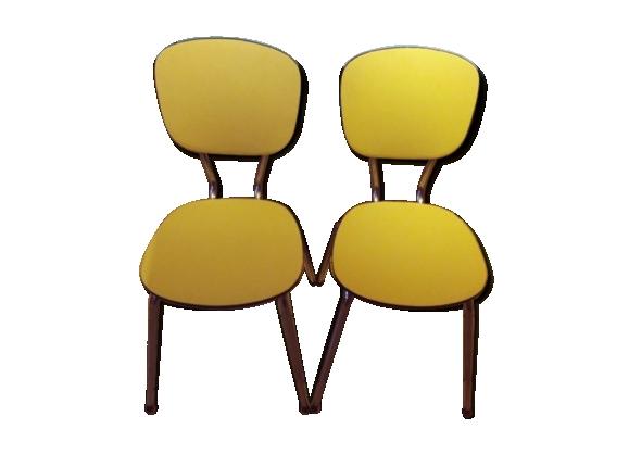 Chaise toile enduite vintage jaune