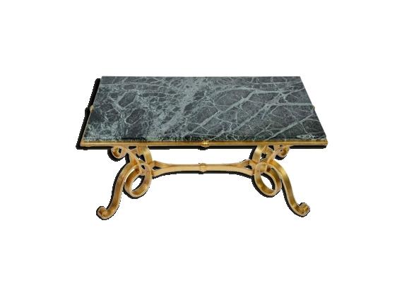 Table basse en fer forgé doré et marbre