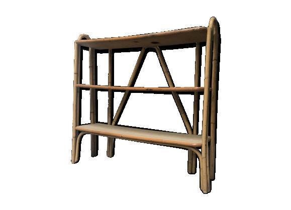 etag re en rotin des ann es 60 rotin et osier bois couleur bon tat vintage. Black Bedroom Furniture Sets. Home Design Ideas