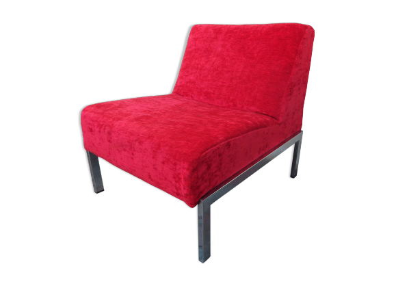 fauteuil en velours rouge et chrome tissu rouge dans son jus vintage. Black Bedroom Furniture Sets. Home Design Ideas