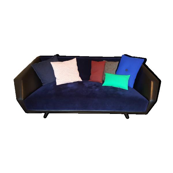 canape vintage velours bleu marine cuir noir et palissandre bois mat riau bleu bon tat. Black Bedroom Furniture Sets. Home Design Ideas