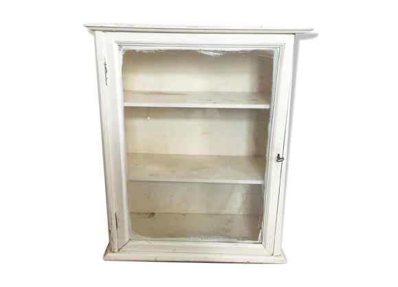 meuble armoire pharmacie vintage bois mat riau blanc dans son jus classique. Black Bedroom Furniture Sets. Home Design Ideas
