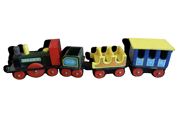 Train en bois multicolor vintage