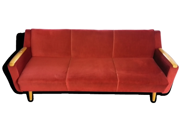 Canapé convertible Daybed sofa années 50/60 rouge cliclac