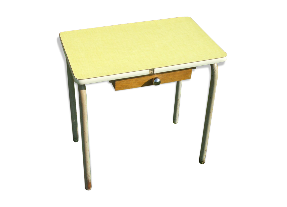 table colier formica jaune bois mat riau jaune bon tat vintage. Black Bedroom Furniture Sets. Home Design Ideas