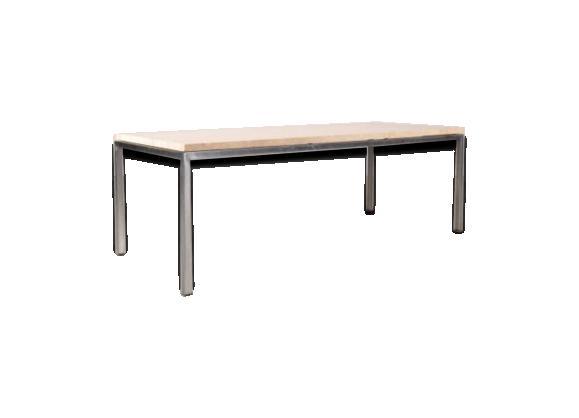 table basse minimaliste en travertin et chrome 1960s. Black Bedroom Furniture Sets. Home Design Ideas