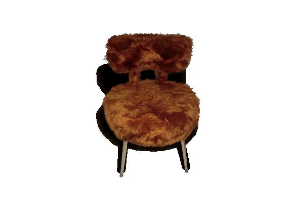 chaise moumoute pelfran marron le fait main. Black Bedroom Furniture Sets. Home Design Ideas