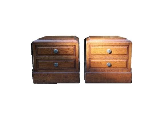 Duo de petits meubles de rangement art-déco en bois