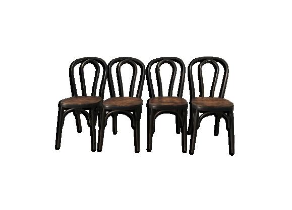 Suite de 4 chaises bistro noires