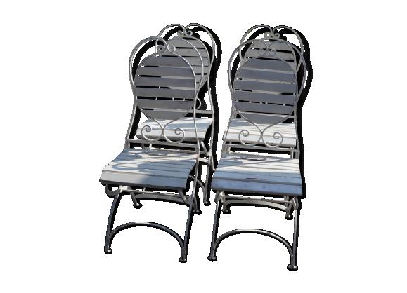 Ensemble de 4 chaises de jardin en fer x 4 fer blanc for Chaises de jardin en fer
