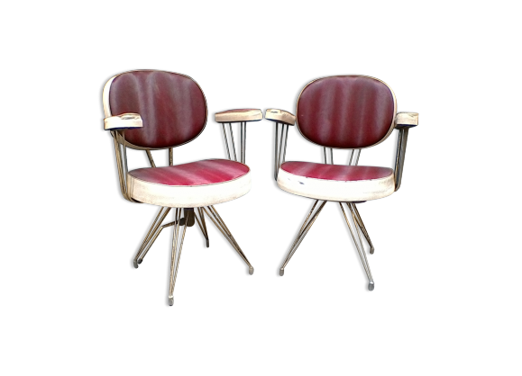lot de 2 fauteuils de barbier vintage ska rouge. Black Bedroom Furniture Sets. Home Design Ideas