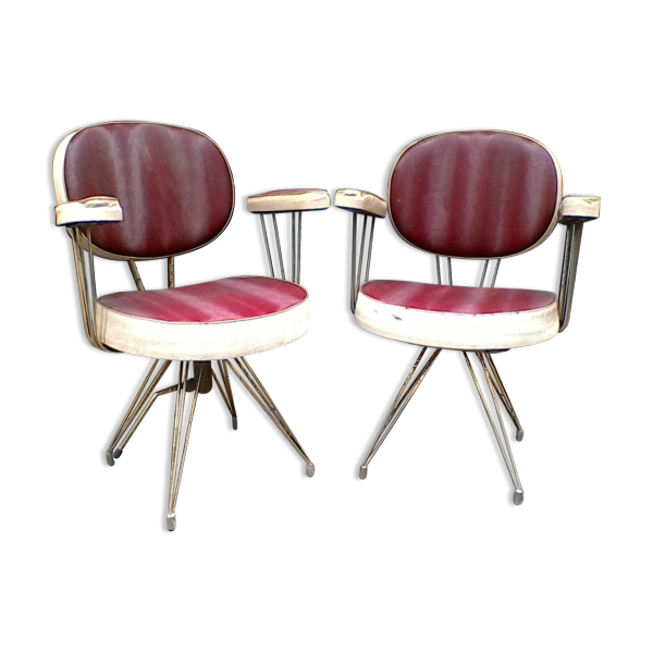 lot de 2 fauteuils de barbier vintage ska rouge dans son jus industriel. Black Bedroom Furniture Sets. Home Design Ideas