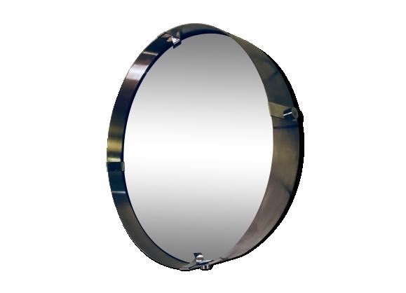 Miroir rond en aluminium brossé 1970s 60cm