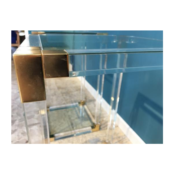 Mid century side tables in lucite acrylic and brass 1970s set of 2 verre et cristal - Tabouret de bar plexiglas transparent ...