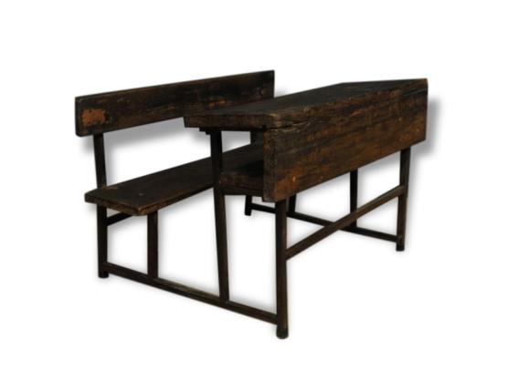 ancien petit pupitre d colier en bois et m tal bois. Black Bedroom Furniture Sets. Home Design Ideas