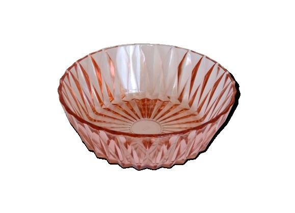Saladier rose rétro en verre