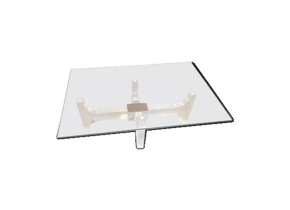 Table basse lumineuse en verre des années 70