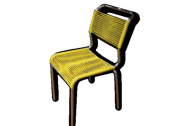 Chaise scoubidou m tal dans son jus vintage 163173 - Chaise scoubidou vintage ...