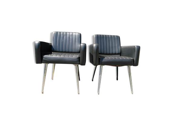 paire de fauteuils design ann es 60 ska noir bon tat vintage. Black Bedroom Furniture Sets. Home Design Ideas