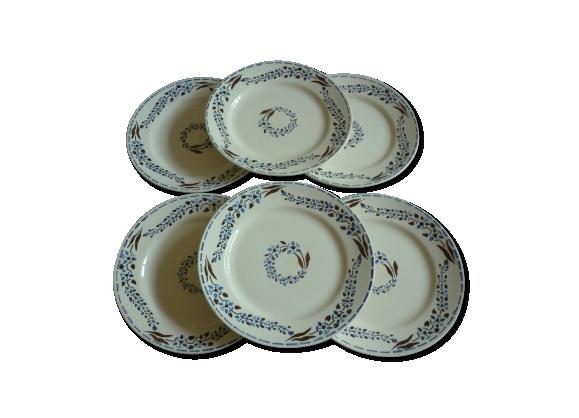 Assiettes plates en faience de longchamp modèle bastia