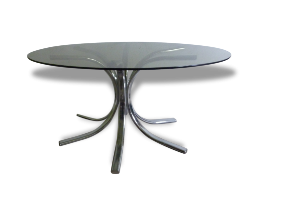 table basse plateau en verre et pieds chrom s ann es 70. Black Bedroom Furniture Sets. Home Design Ideas