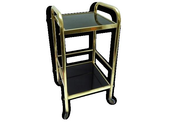 sellette en laiton et verre noir 1950 60 le fait main. Black Bedroom Furniture Sets. Home Design Ideas