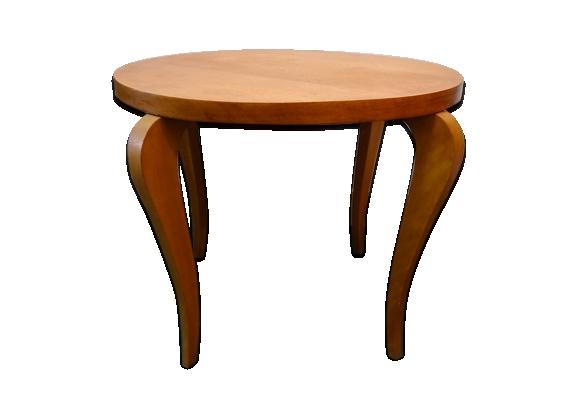 Table basse ronde bois clair années 60