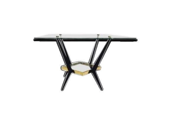 Table basse à double plateau de verre Angelo Ostuni circa 1950