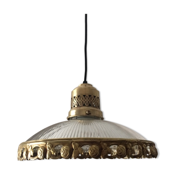 suspension art deco en verre moul 1930 laiton dor. Black Bedroom Furniture Sets. Home Design Ideas