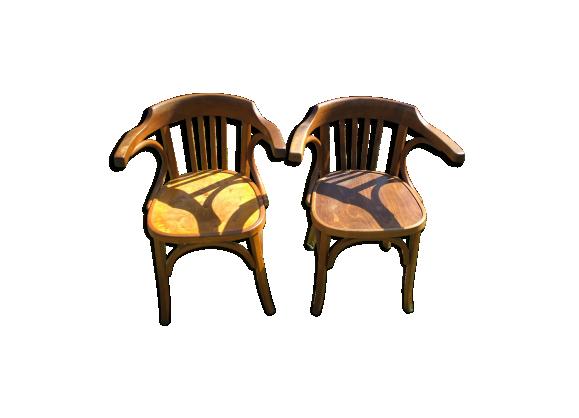 paire de fauteuils de bureau baumann bois mat riau bois couleur bon tat classique. Black Bedroom Furniture Sets. Home Design Ideas