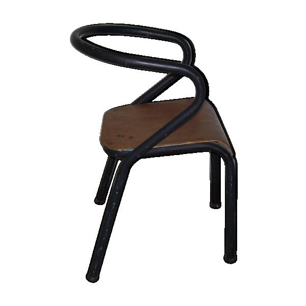 chaise d 39 colier jacques hitier mod le mullca bois mat riau noir bon tat vintage. Black Bedroom Furniture Sets. Home Design Ideas